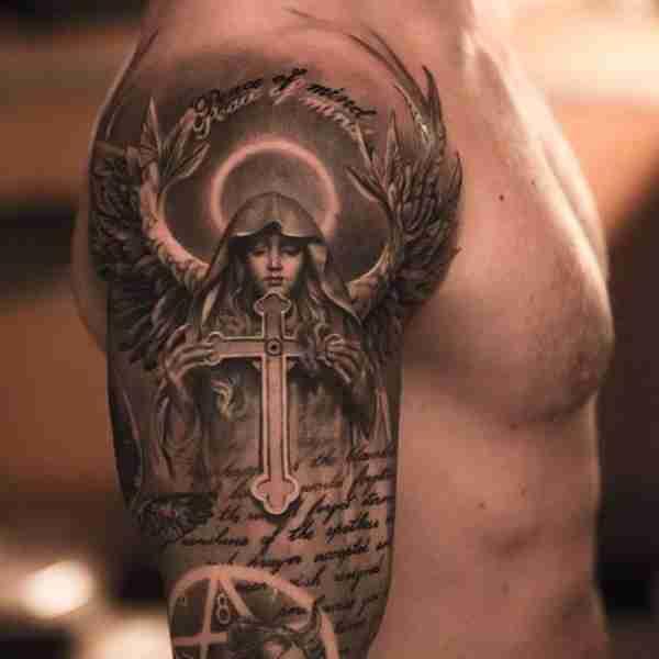 Angel Holding Cross Tattoo
