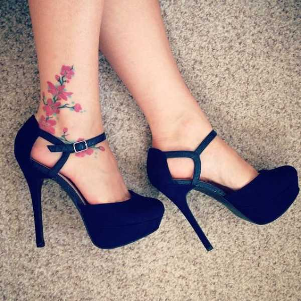 Cherry Blossom Ankle Tattoos
