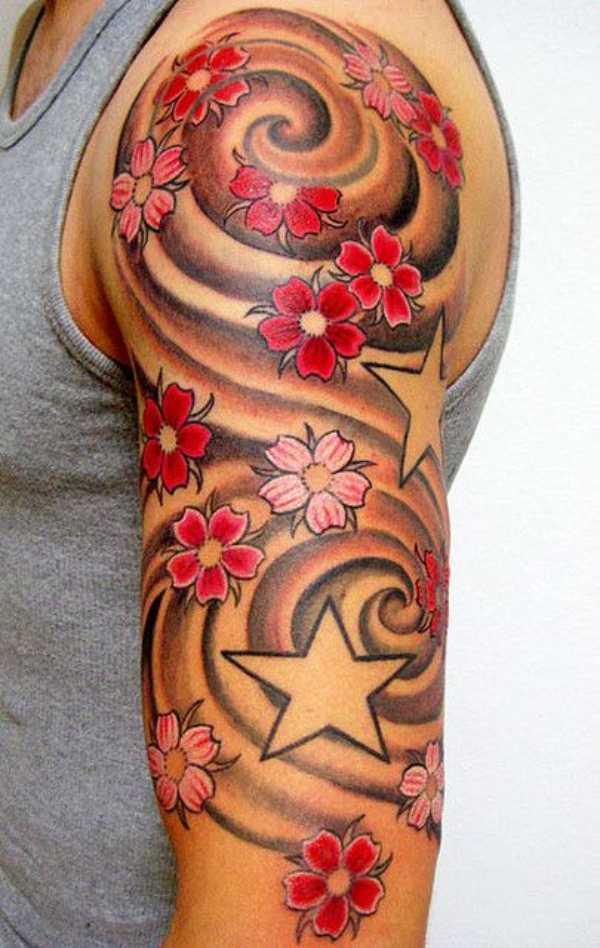 Cherry Blossom Arm Tattoos