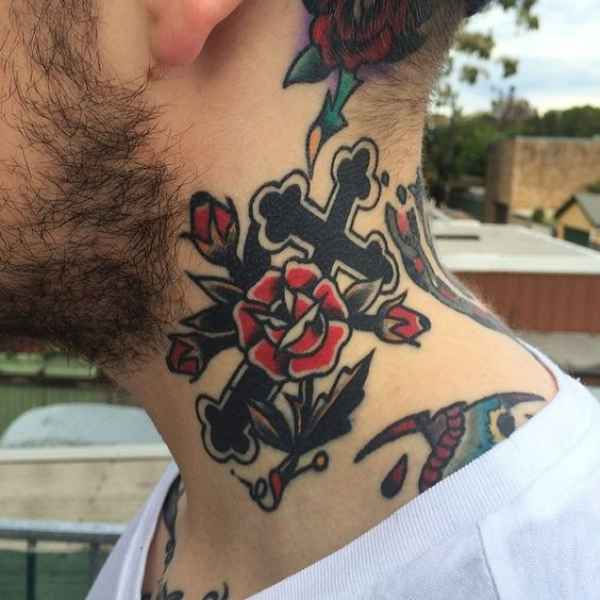 Cross And Flower Tattoo