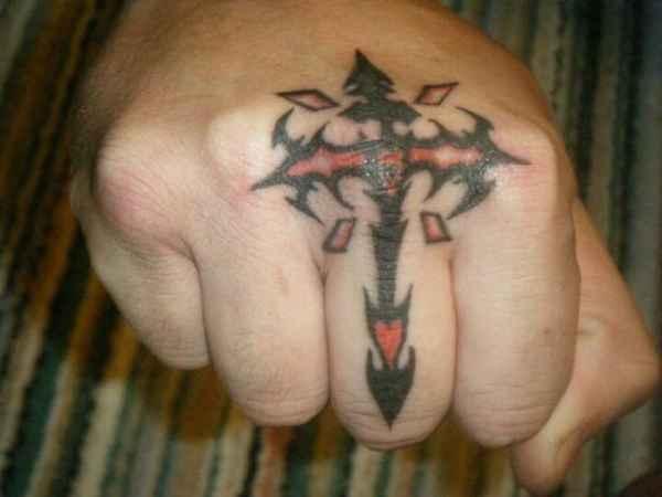 Finger Cross Tattoo Design