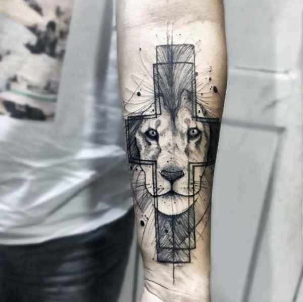 Lion Cross Tattoo