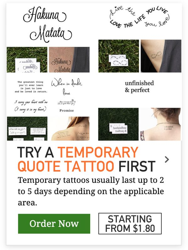 temporary quote tattoo ideas