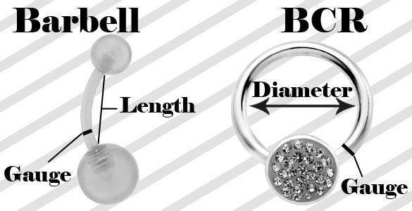 Belly Button Ring Sizes