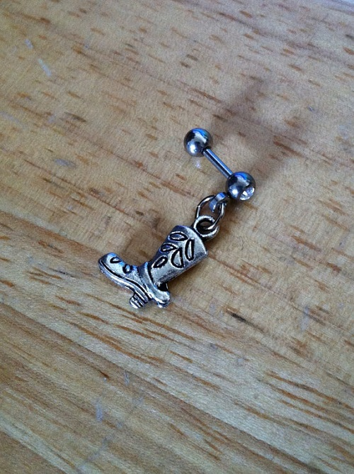 Cowgirl Boot Barbell Helix Piercing Jewelry