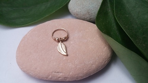 Custom Gold-Plated 14k Hoop Earring with Leaf