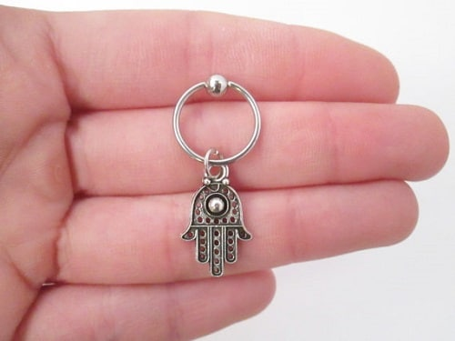 Antique Silver Hamsa Hand Helix Jewelry
