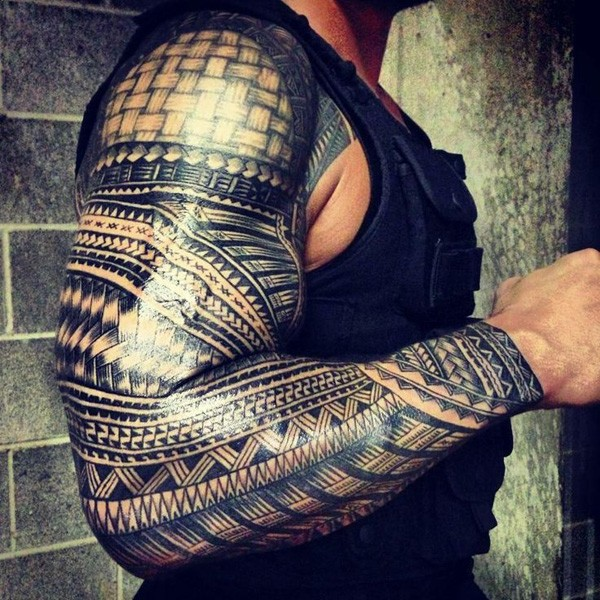 Samoan full sleeve tattoo