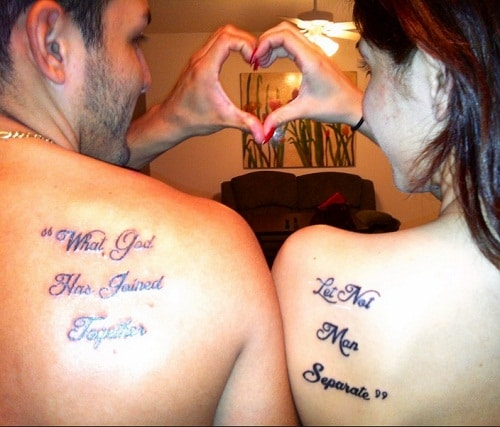 God has Joined Couples Tattoos Quotes