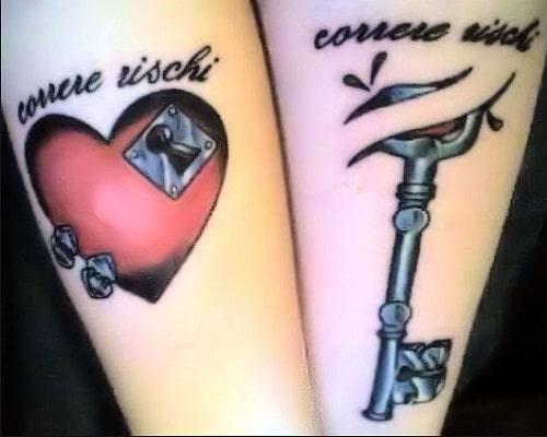 Heart Key Couples Tattoos