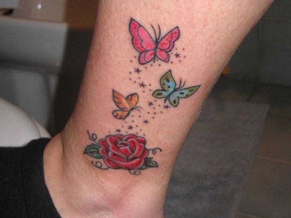 Rose Tattoo And Butterflies