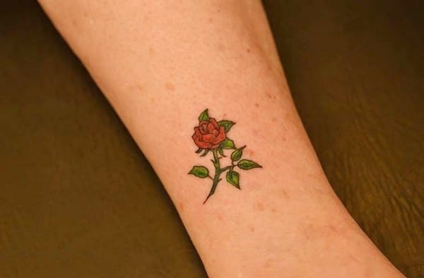 Rose Tattoos On Leg