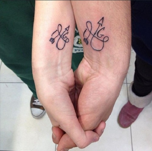 Twisted Arrows Couples Tattoos