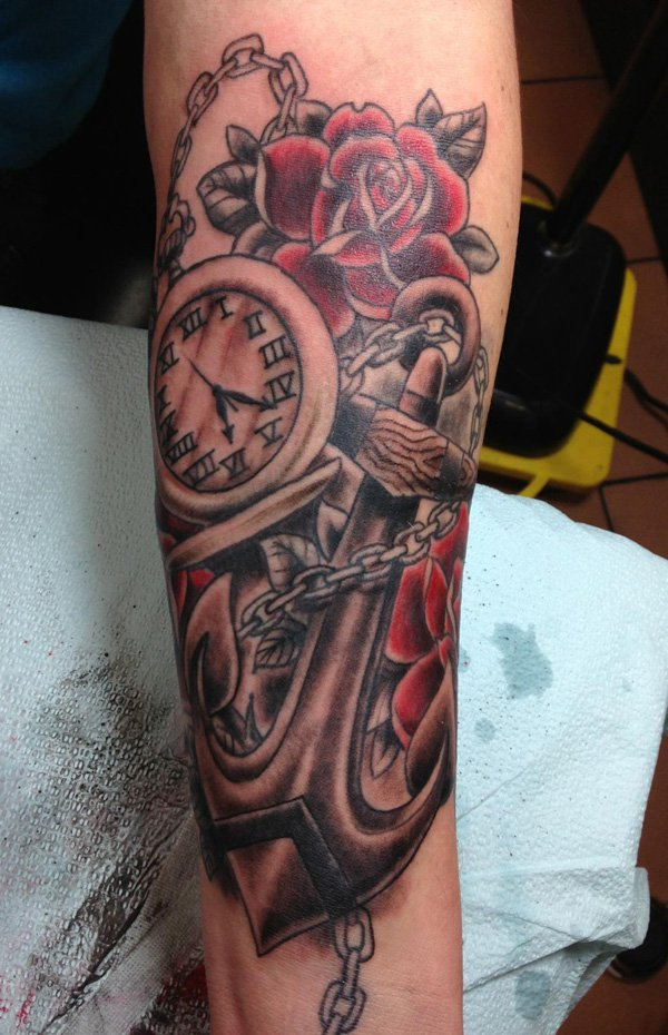 Anchor Pocket Watch Tattoos