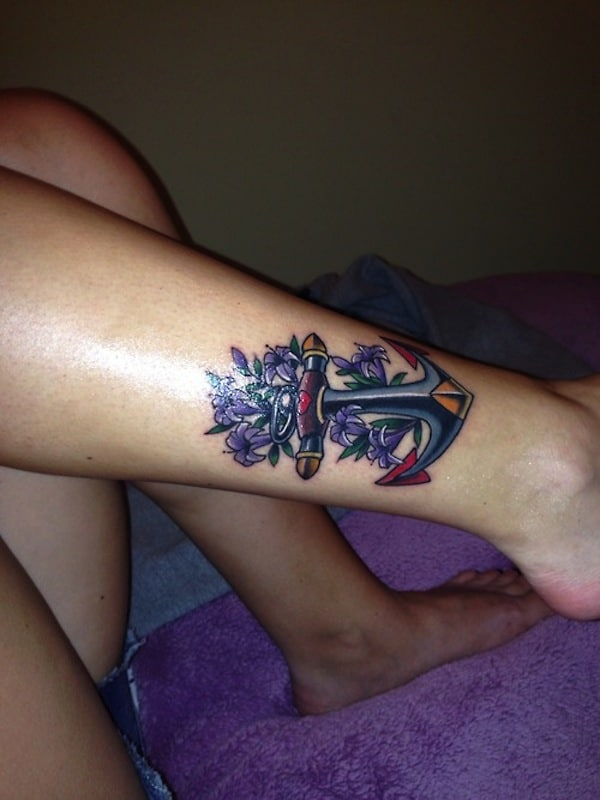Anchor Tattoo With Purple Flowers