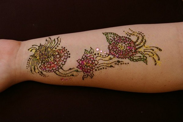 Colored Henna Flowers Tattoo