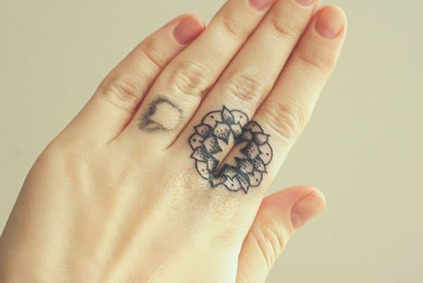 Mandala Tattoo On Finger