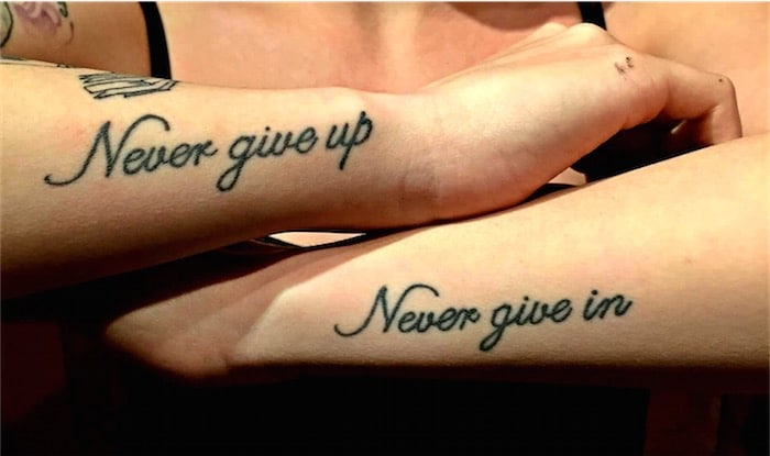 Never Give Up Tattoo Quote