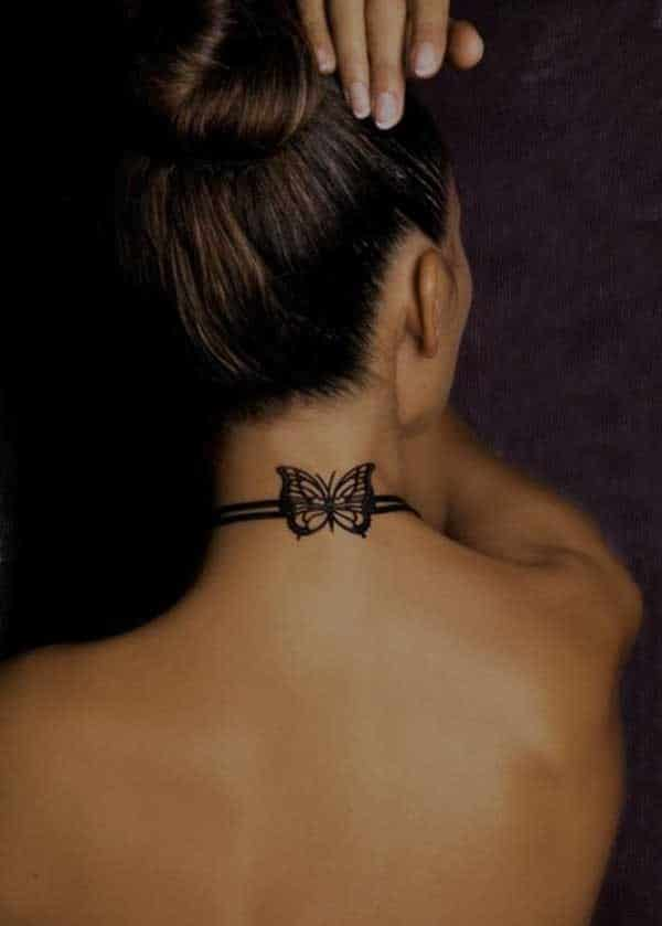 Small Butterfly Tattoo On Neck