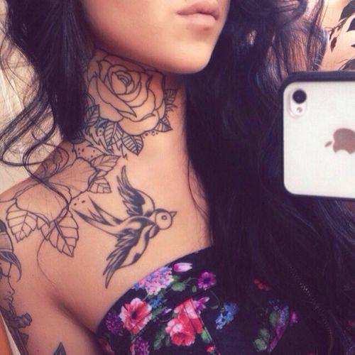 Beautiful Rose Neck Tattoo