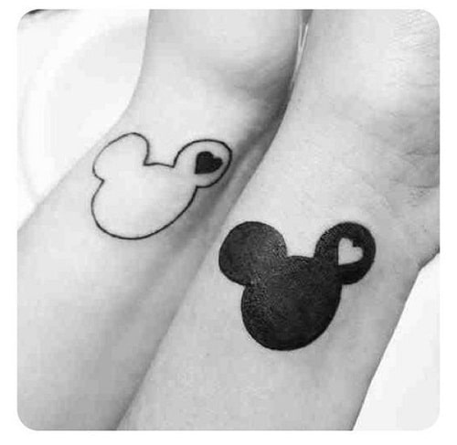 Black and White Mickey Partner Best Friend Tattoos