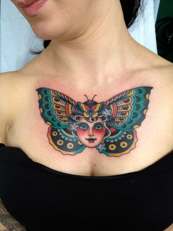 Chest 3D Peacock Tattoos
