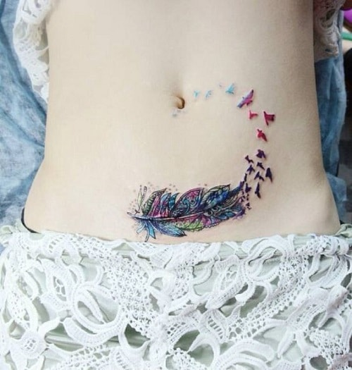 Colorful Feather Made of Bird Tattoo