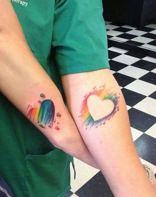 Colorful Hearts Best Friend Tattoos