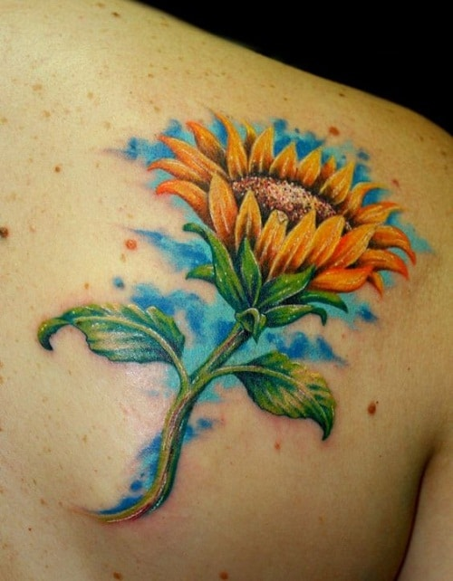 Colorful Sunflower Tattoo