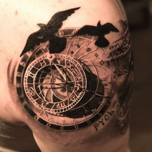110 best compass tattoo designs ideas and images piercings models compass with clock and black birds tattoo gumiabroncs Gallery