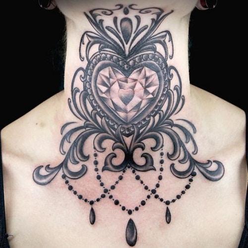 Diamond Heart Neck Tattoo