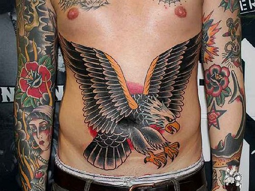 Eagle Stomach Tattoo for Men
