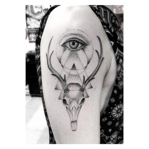 Eye Tattoo with Deer