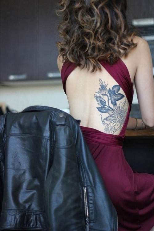 Huge Flower with Leaves Side Tattoos for Women