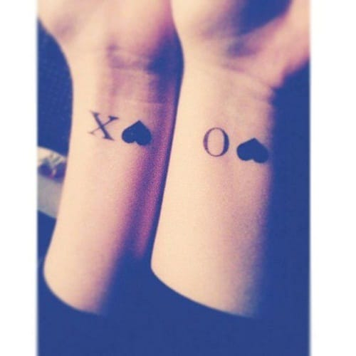 Hugs and Kisses with Heart Best Friend Tattoos
