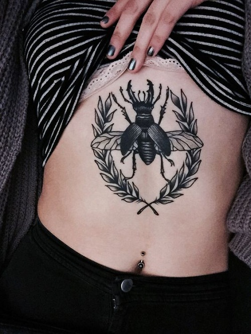 Insect with Leaves Stomach Tattoos