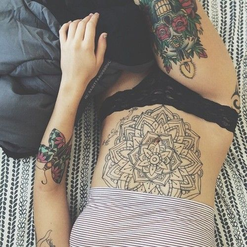 Large Flower Stomach Tattoos