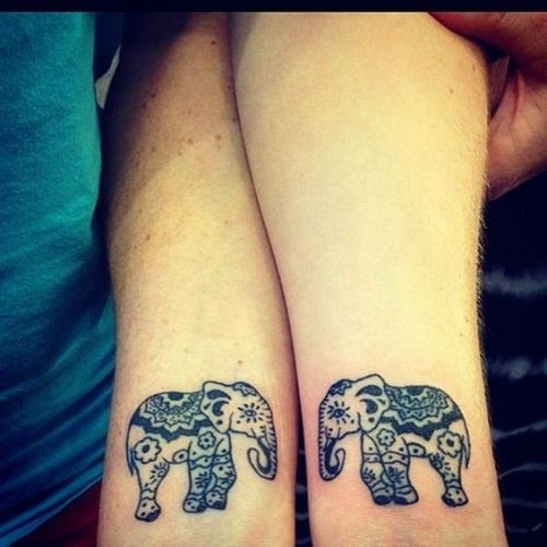 Mandala Elephant Friendship Tattoos