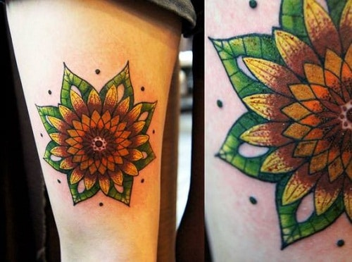 Mandala Sunflower Tattoo