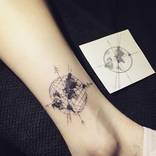110 best compass tattoo designs ideas and images piercings models earth inside a compass tattoo gumiabroncs Choice Image