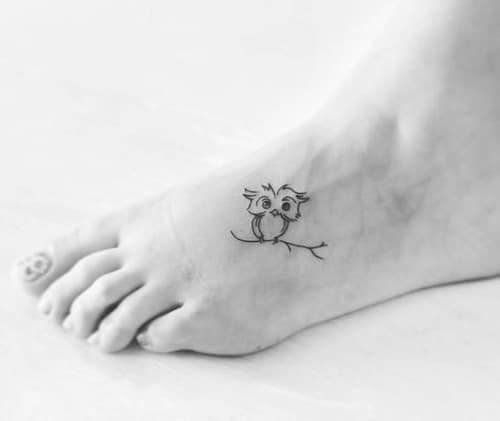 Owl Bird Tattoo on Foot