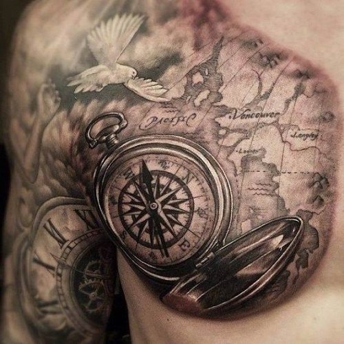 110 best compass tattoo designs ideas and images piercings models pacific map with dove and compass tattoos gumiabroncs Choice Image