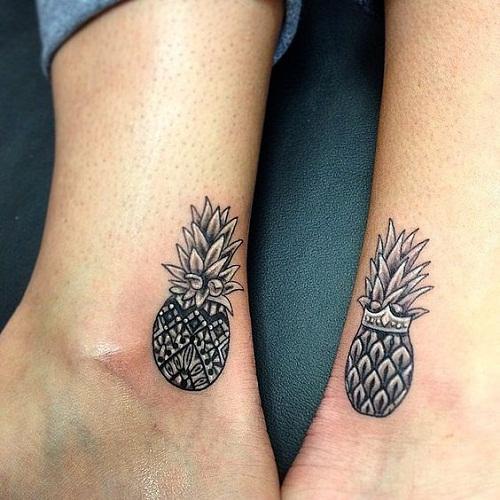Pineapples on Wrists Best Friend Tattoo