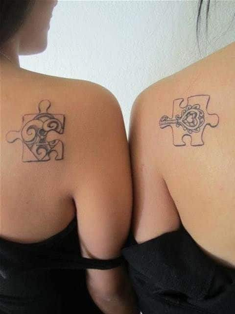 Puzzle and Lock Best Friend Tattoos
