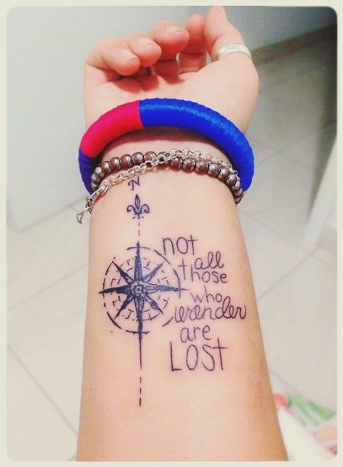 0c200fa76 110 Best Compass Tattoo Designs, Ideas and Images - Piercings Models