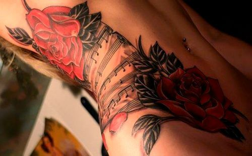 Roses and Music Stomach Tattoos