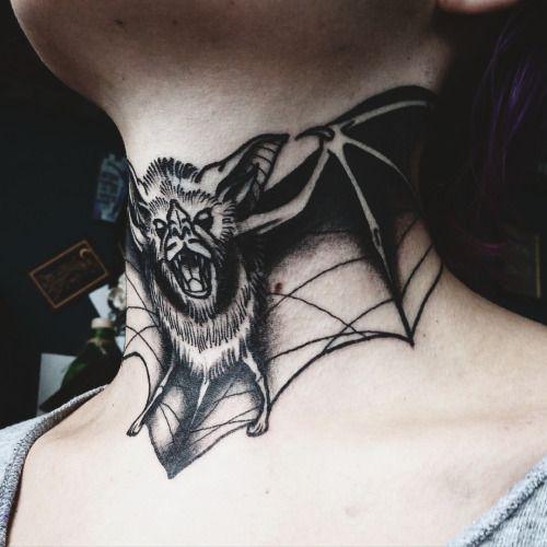 Scary Bat Neck Tattoo