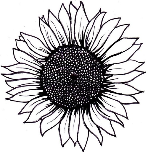 Simple Sunflower Tattoo Layout