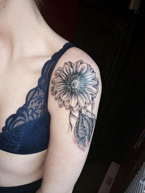 Small Sunflower on Forearm with Fearthers