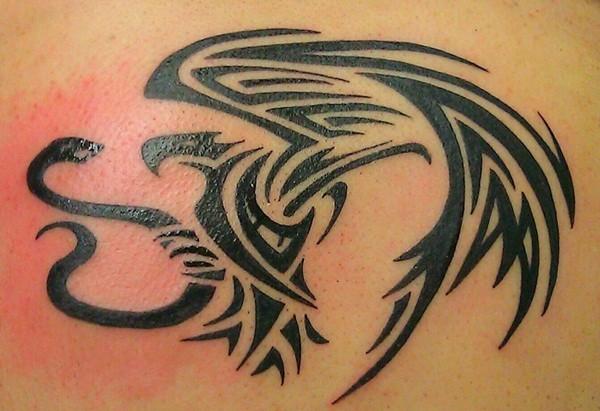 Snake And Eagle Tattoo